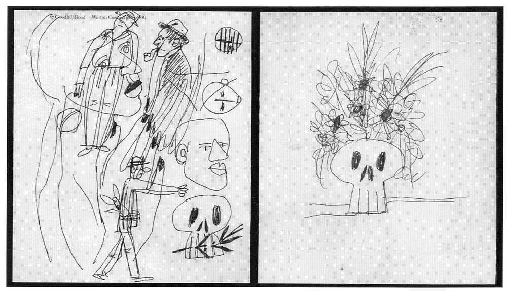Ball point pen sketches of people, including skull chewing on a laurel leaf used for a 1968 anti-war poster.