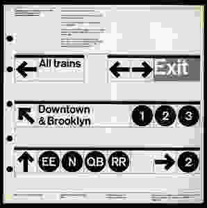 Page 59. Different sign combinations were detailed to show how a strictly minimal system could adapt to the complex labyrinth that is the New York City Subway.