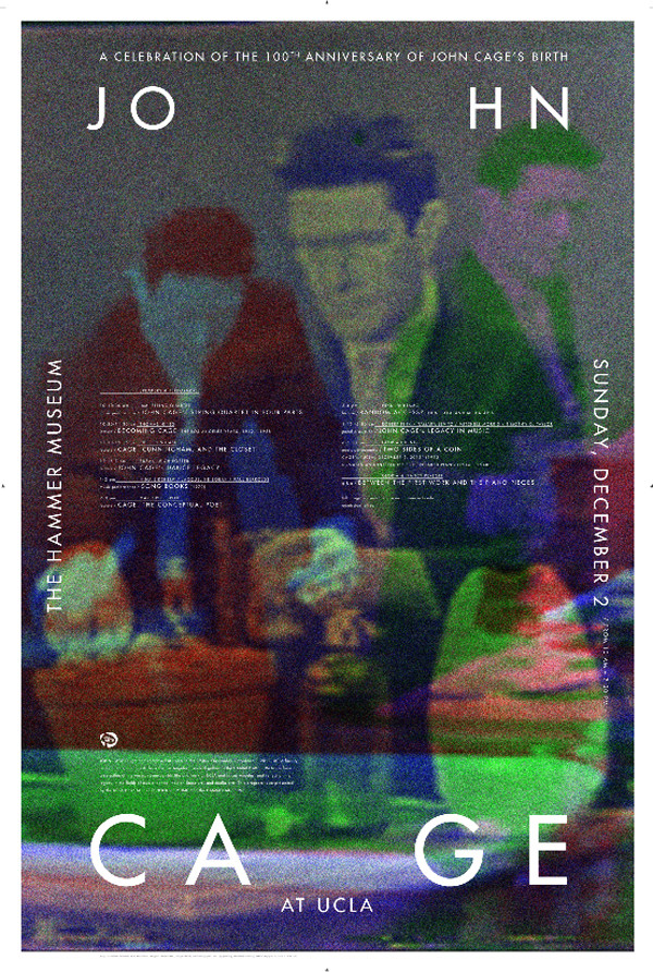 """Lucas's John Cage posters, """"using stills from his great performance of 'Water Walk'"""" on I've Got a Secret in 1960"""