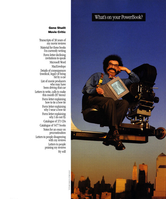 """What's on your PowerBook?"" Ad, featuring Gene Shalit."