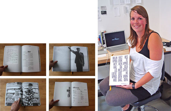 Brigiet van den Berg is a professional graphic designer visiting from Holland. Although not an Otis student, she's been sitting in on MFA classes and delivering lectures about Dutch design during the summer. Left: inside spreads for an annual report she designed for VPRO, a Netherlands independent public broadcaster. Right: Brigiet at the Open Studio, with the annual report. Photo by Michael Dooley. http://brigiet.isme.nl/