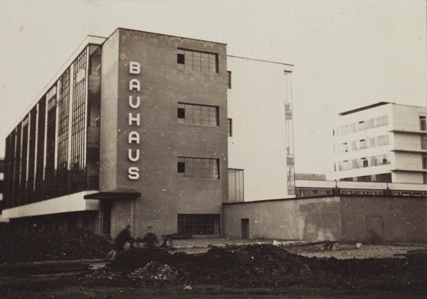 Lucia Moholy: (Southern View of Newly Completed Bauhaus, Dessau), 1926. Gelatin silver print, 2 1/4 x 3 3/16 in. © 2011 Artists Rights Society, New York / VG Bild-Kunst, Bonn. Credit: The J. Paul Getty Museum, Los Angeles.