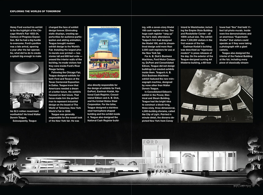 "Spread from issue 7 (2014) that tells the story of the ""Godfather of Industrial Design,"" Walter Dorwin Teague."