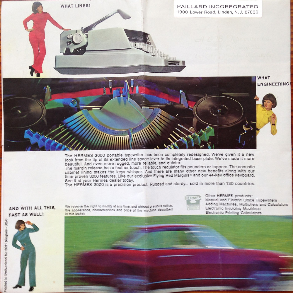 Figure 7 - Ca. 1970's model Hermes 3000 manual in full-color reproduction, back.