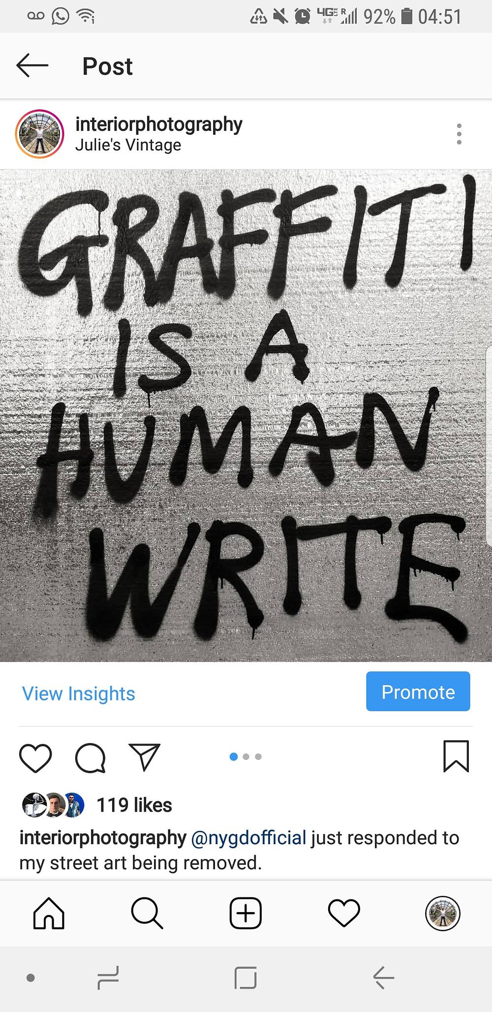 Instagram post- interiorphotography: Graffiti is a human write