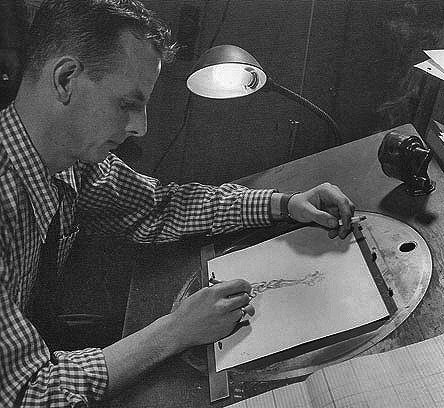 Animator Willis Pyle working on a UPA disc