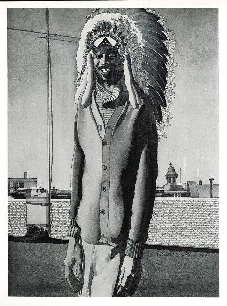 "black and white Charles Santore ""Harry Purvis, Medicine Man, A Vanishing American"""