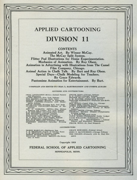 Contents page of 1919 edition.