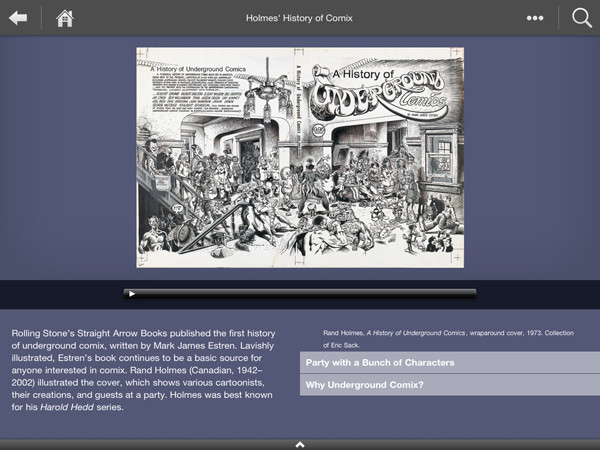 A page featuring Rand Holmes's History of Underground Comics, with audio narratives.