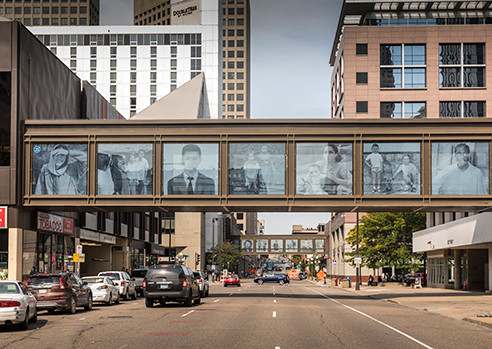 Exterior view of two skyway bridges experienced at the street level in downtown St. Paul (photo: David Turner)