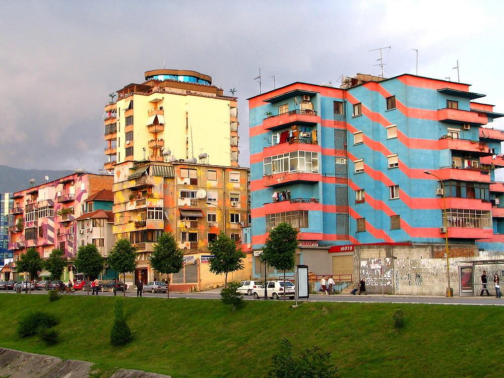 Tirana, Albania, via Architizer: http://www.architizer.com/en_us/blog/dyn/93360/colorful-social-housing/