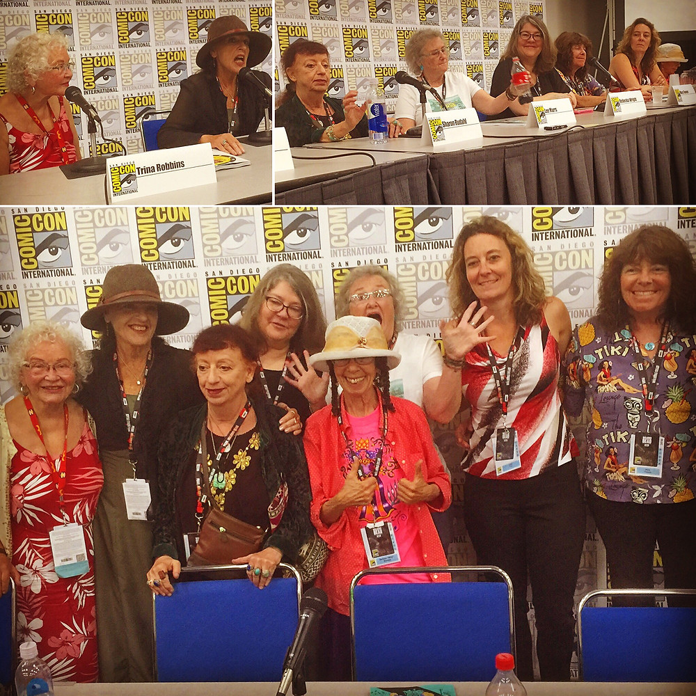 """Trina Robbins on the far left at last month's San Diego Comic-Con panel on her latest book, """"The Complete Wimmen's Comix,"""" with Terre Richards, Sharon Rudahl, Rebecka Wright, Barbara """"Willy"""" Mendes (thumbs up), Lee Marrs (jazz hands), Joan Hilty, and Mary Fleener."""