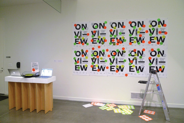 """On View,"" black-and-white laser print with stickers, 2011"