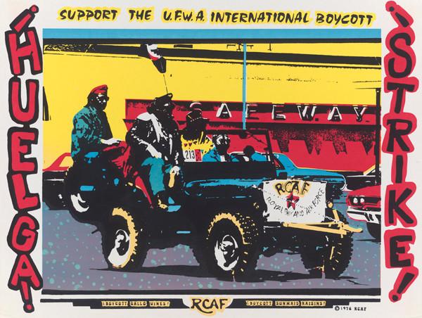 Ricardo Favela, of the Royal Chicano Air Force: ¡Huelga! Support the UFWA International Boycott, 1976