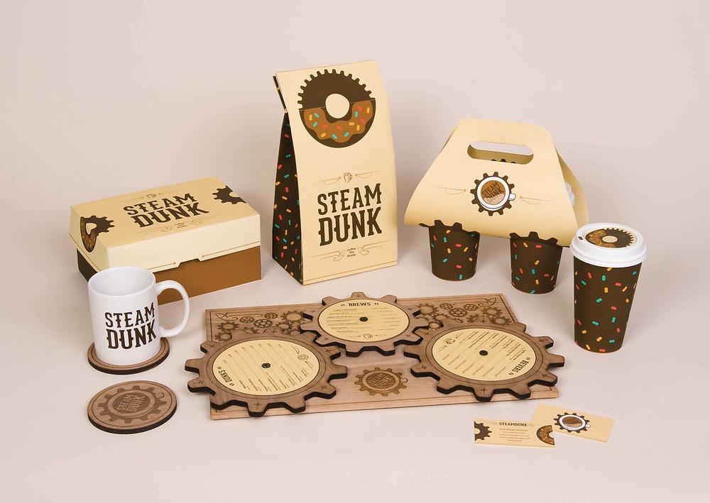 Student Designs- Steam Dunk Restaurant Identity