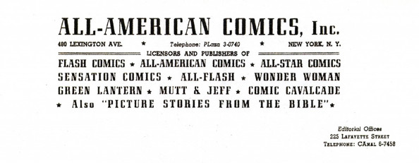 All-American Comics, Inc. letterhead 1943