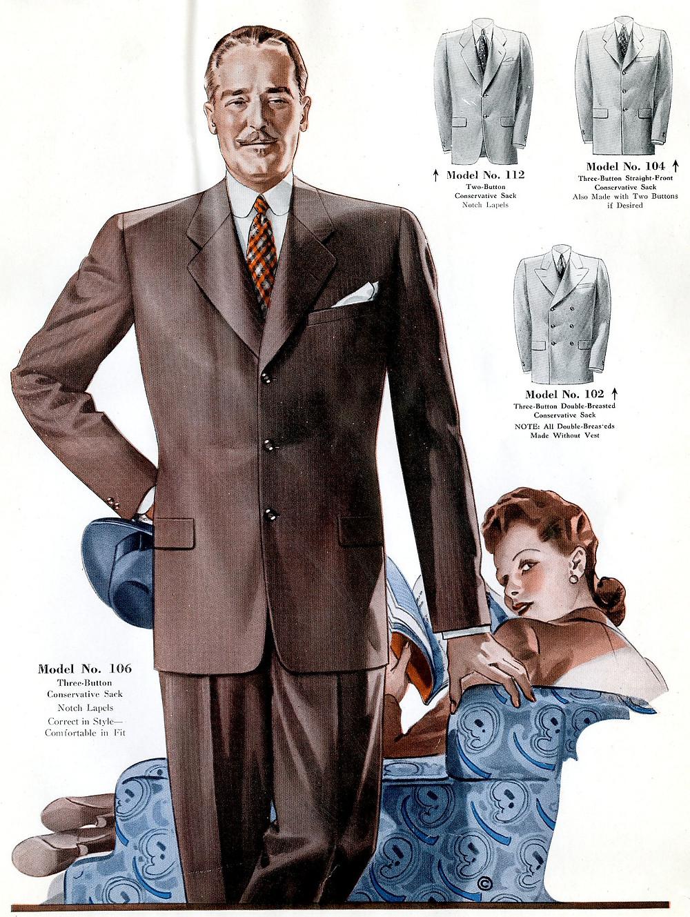 1940s fashion brown suit for men