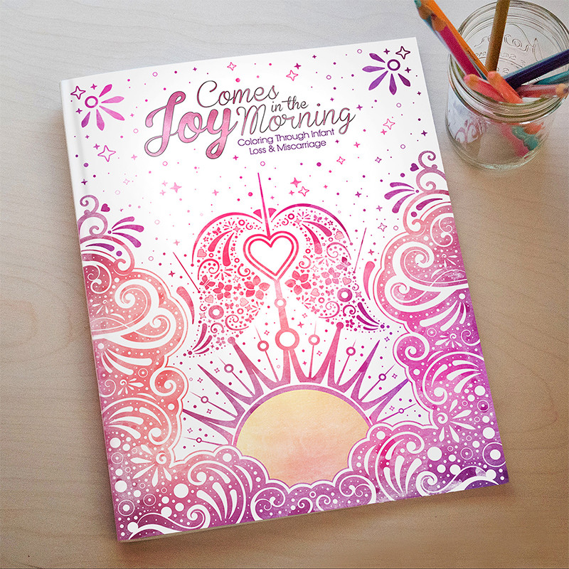 """Joy Comes in the Morning"" coloring book cover design"