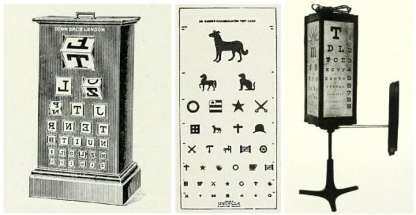 """Eye chart with rotating cubes by Chas Wray, """"kindergarten test chart"""" with animals and shapes by Wendell Reber, eye chart cabinet by Nelson M. Black with inner lighting (and, interestingly, a panel of blackletter optotypes on the side). All from The American Encyclopedia and Dictionary of Ophthalmology, ed. Casey A. Wood)"""