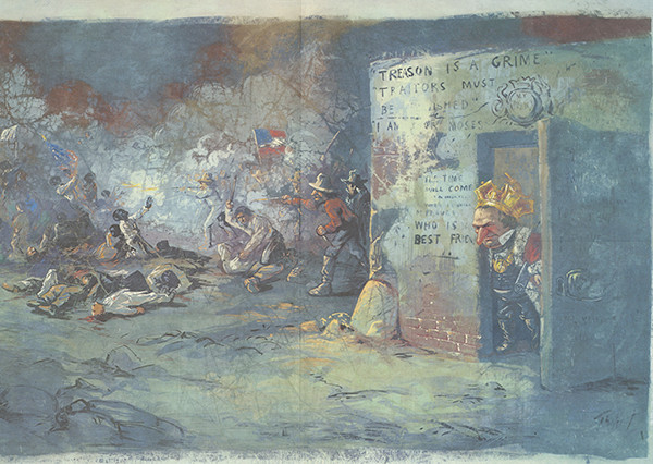 """""""The Massacre at New Orleans"""" is the only painting related to a real event. Reminiscent of Manet and Goya, it represents a conflict at a political convention where President Johnson (peering out the door) allowed Negro delegates to be killed or beaten by police and a white mob. Goodrich notes that this overt critique of Johnson, """"anticipates the social content school of the 30s."""""""