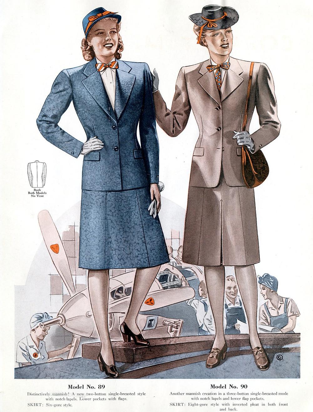 1940s fashion suits for civilian women