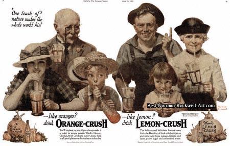 A 1921 Norman Rockwell Crush advertisement for Orange/Lemon Crush.