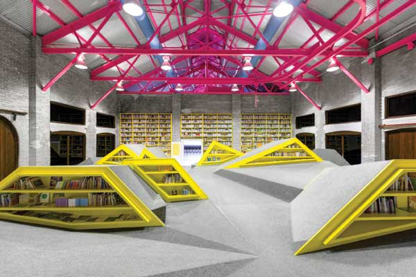 Architecture and interior design for a children's library and cultural center.