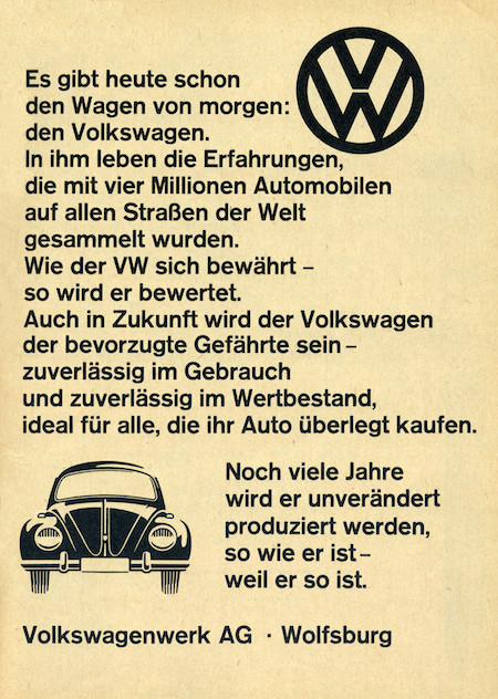 Akzidenz Grotesk in a Volkswagen Ad