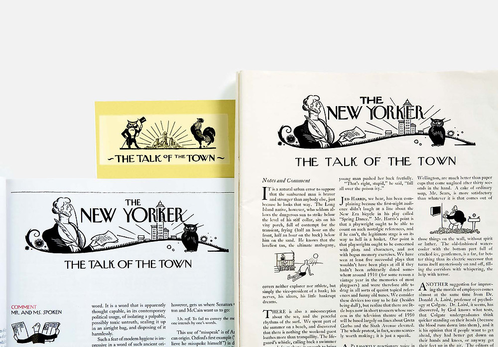 Three incarnations of the Talk of the Town design, from Irvin's 1925 logo (top left), to a 1936 layout (right), to the current version.
