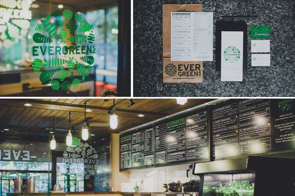 "For the Seattle-based restaurant Evergreens, Showman created the identity and range of collateral, including icons, menus and  signage. ""The identity is designed from the perspective of a top-down view of a salad bowl, and reflective of the chop-to-order mentality,"" she says."