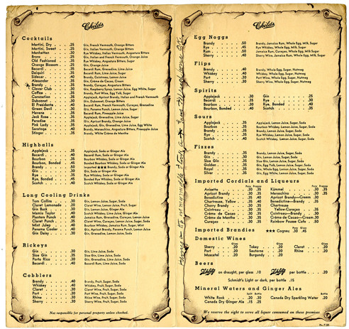 Childs Wine List