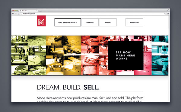 Design work for Made Here, a web platform for manufacturing and selling products.