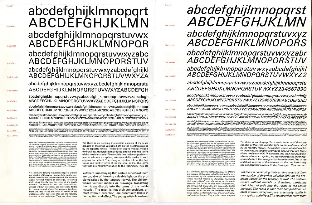 univers typeface varieties