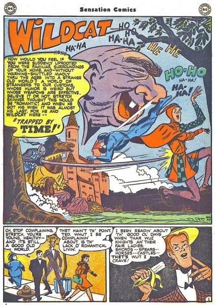 Wildcat by Bill Finger and Irwin Hasen. Sensational Comics #64, 1942.