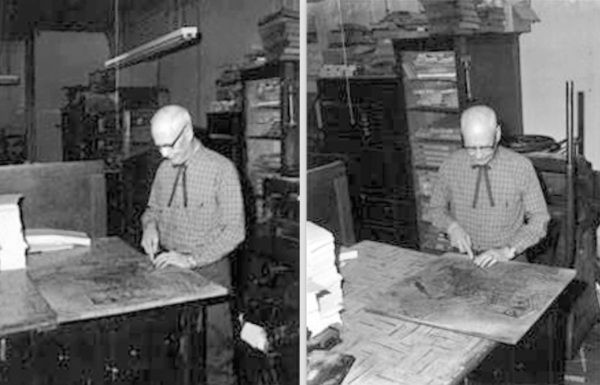 Andrew King at work at King Show Print in Estevan 1950s.