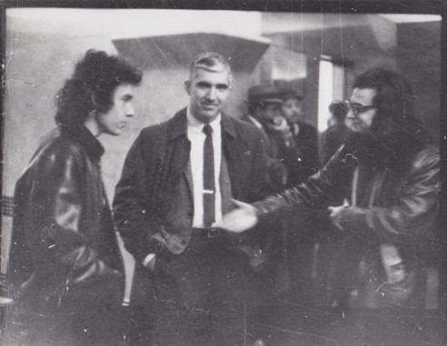 Ray Schultz and I greet our nemesis, a member of the NYPD Red Squad