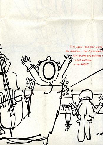 Lou Myers cartoon for WQXR Radio