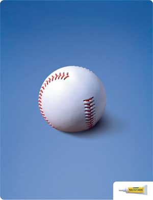 Neosporin helps wounds heal faster, and in this ad, the viewer closes the connection between the separation in the baseball's stitching and a person's injury.