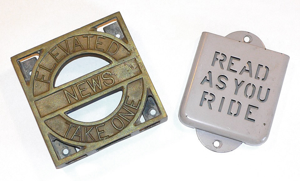 These are examples of the PR brochure holders installed in the rapid transit cars circa 1910s/late 1940s.