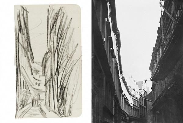 left: Untitled (Bölbergasse, Halle), probably 1929. Black crayon on paper, 6 1/2 x 3 3/4 in. Credit: Harvard Art Museums/Busch-Reisinger Museum, gift of Julia Feininger. right: Untitled (Bölbergasse, Halle), 1929 -1930. Gelatin silver print, 2 3/8 x 1 3/4 in. Credit: Stiftung Moritzburg - Kunstmuseum des Landes Sachsen-Anhalt, Halle. © Artists Rights Society, New York / VG Bild-Kunst, Bonn.