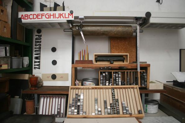 Type, tools, and materials in Lucio Passerini's studio