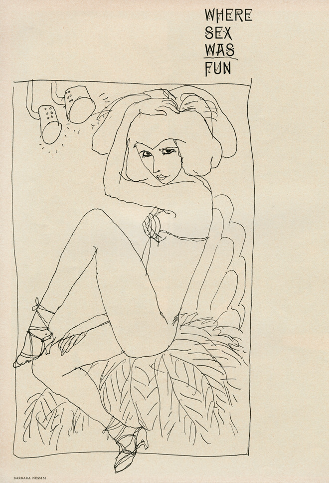 """""""Where Sex Was Fun,"""" 1964. Pen and ink. 12"""" x 9"""". Published in SHOW:The Magazine of the Arts, March 1964, for """"Where Sex Was Fun: An Examination of Burlesque in America"""" by Helen Lawrenson. Art director: Henry Wolf"""