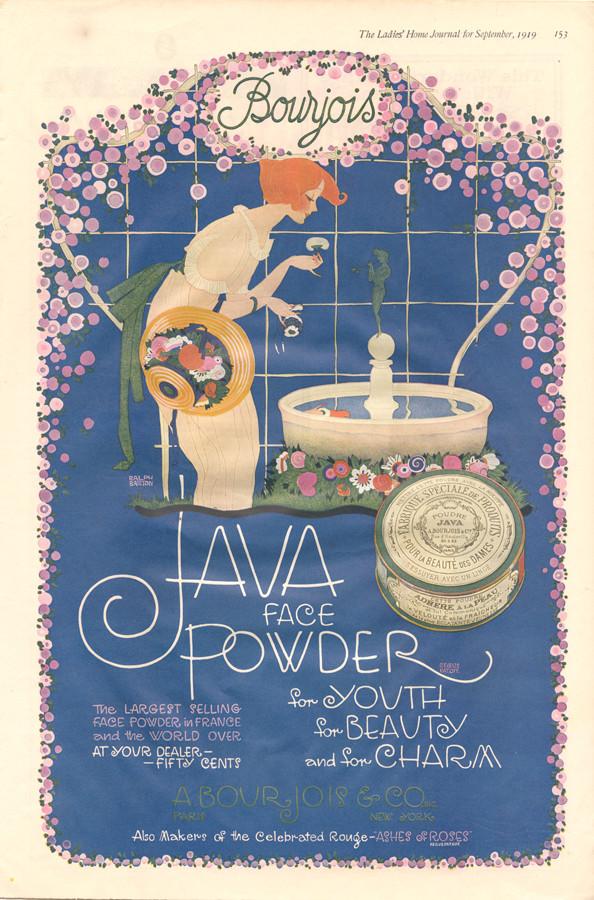 Cartoonist Ralph Barton's work for Java Face Powder, 1907.
