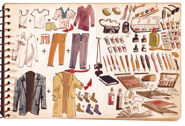 Adolf Konrad's graphic packing list