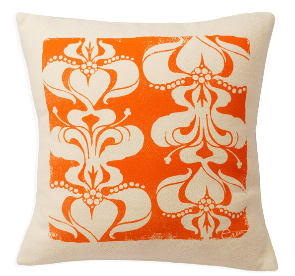 """Stacked Deco"" throw pillow in Orange"