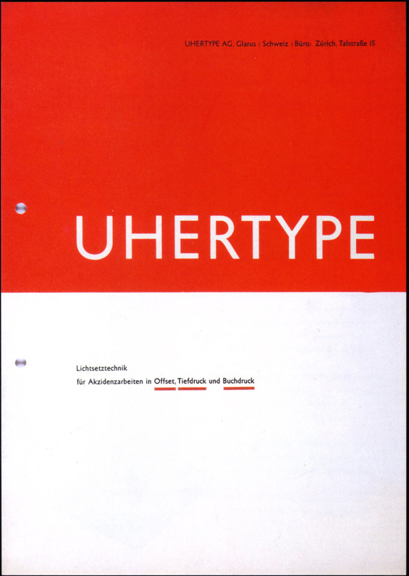 Catalogue cover for Uhertype (a phototypesetting company) by Jan Tschichold (1933)