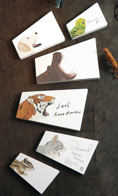 Animal Voice Memos: Tokyo-based illustrator Ko. Machiyama and Paperable created these clever, high-end and beautifully crafted memo pad.