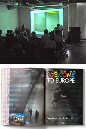"Top: Vinca Kruk and Daniel van der Velden on stage at Otis. Photo by Michael Dooley. Bottom: a spread from Metahaven's new book, ""Uncorporate Identity."""