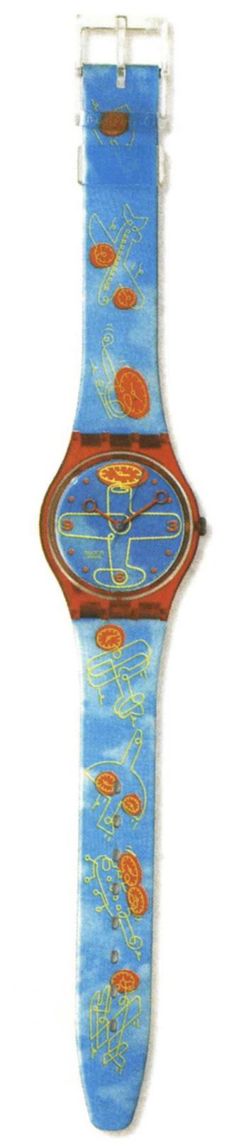 Region: New York;Year: 2000; Hour plane watch; Illustrator:Otto Steininger/Doppelganger; Art Director:Adelina Bissolo/Swatch Creative Lab