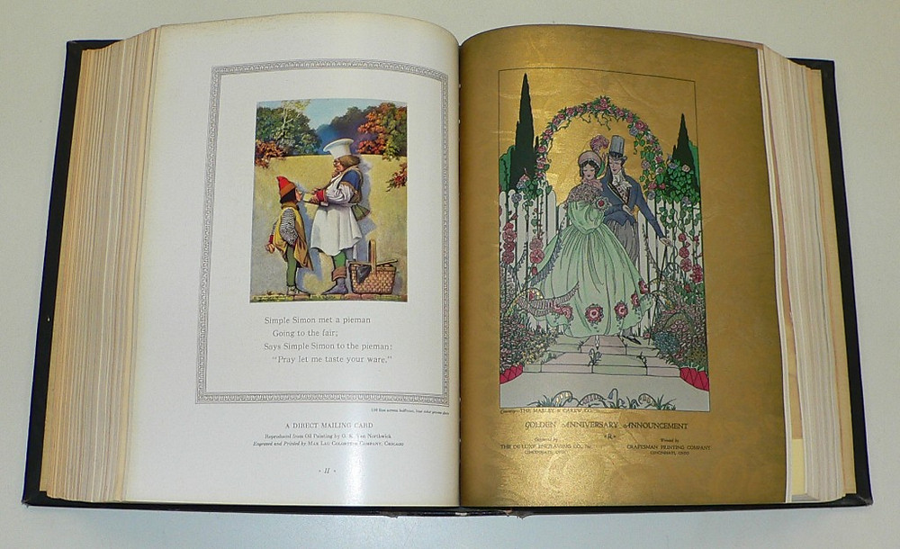 Left: a direct mailing card illustrated with a painting by C.K. Van Nortwck. Right: a golden anniversary announcement printed on gold textured stock